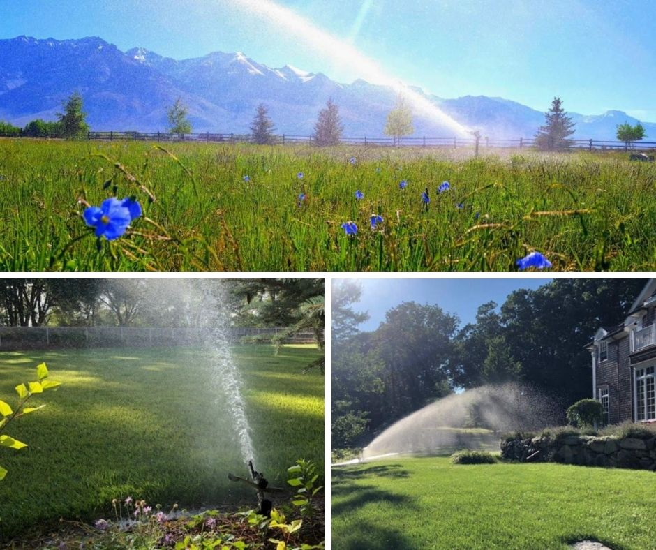 Collage of the 2018 Big Sprinkler Photo Contest Winners including a field of purple flowers, a green field with decorative rocks, and an estate with a Big Sprinkler in the ample-sized yard