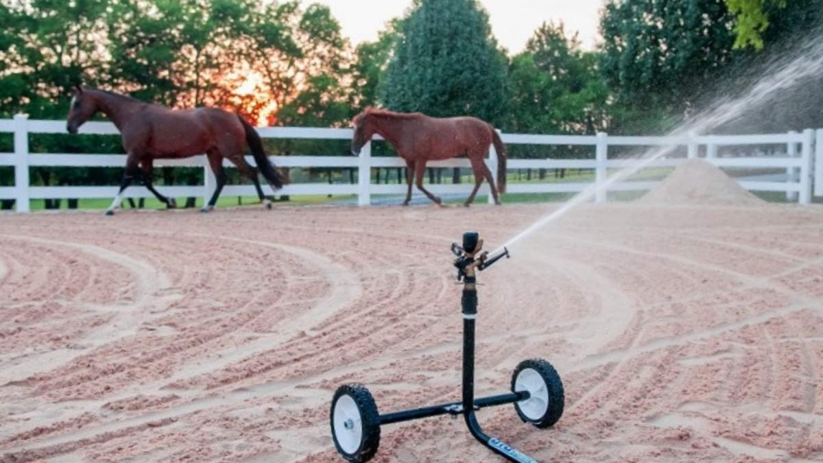 Two horses in an exercise arena with a white picket fence and a wheeled sprinkler cart from Big Sprinkler in the foreground being used to suppress the dust