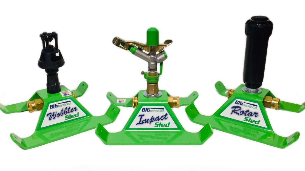 All three of the new heavy-duty residential sled based sprinklers with a green powder-coated base