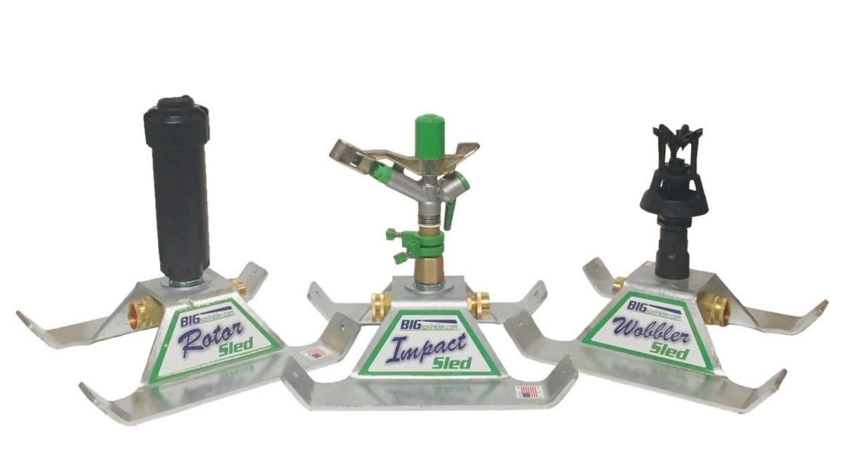 All three heavy-duty residential sled based sprinklers with the galvanized base